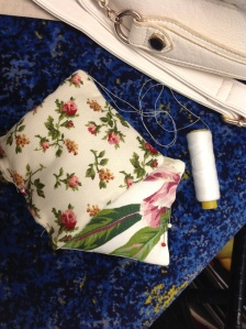 Sewing on the train.....still had the needle at this point